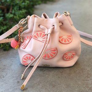 Kate Spade Grapefruit Mini Bucket Bag Pink Leather